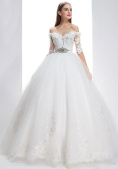Off The Shoulder Chapel Train Tulle Ball Gown Wedding Dress