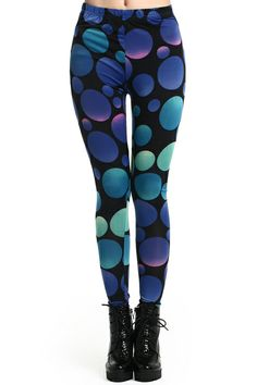 Purple Bubble Print Leggings. Description Leggings, crafted from elastic fabric, featuring purple bubbles print design, a stretchy waist, and all in a soft-touch stretch fit. Fabric Cotton,Polyester. Washing Cool Hand Wash. #Romwe