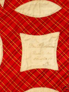 ANTIQUE-COXCOMB-APPLIQUED-QUILT-WITH-SIGNATURES THIS FRIENDSHIP QUILT DATES FROM THE 1840'S AND IS SIGNED WITH PLACES SUCH AS BALTIMORE, DELAWARE, PHILADELPHIA AND CHESTER COUNTY