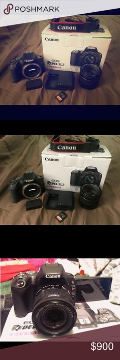 CANON EOS REBEL SL2 CAMERA w/Front Facing Screen! NEW CANON EOS REBEL SL2 200D CAMERA w/Front Facing Screen!   $900 or BEST OFFER! Send me a offer! (:   NEW!! — PERFECT CONDITION!! (:  **Originally got this for $950  Camera comes with: 1 - Strap for the camera to wear around your neck 2- Battery  3 - Battery Charger 4 - SanDisk Extreme Pro SD Memory Card  5 - 55-88mm Lens   Also includes ALL original box and plastic bubble wrap packaging, as well as the information booklet (:  $900 or BEST…