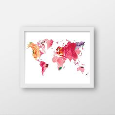 Floral World Map Art Print - Office Art - Home Decor. Floral World Map Art Print. Color Options; Garden (image1) Spring (image2)- Printed on heavyweight matte archival paper with high quality inks. - Frame and mat not included. PLEASE NOTE: Computer monitors display colors differently than on paper therefor your art print may be slightly different than the colors your see on this screen. PACKAGING All artwork is placed in a cellophane sleeve, secured with a backing board and sent in a…