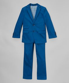 Look at this Isaac Mizrahi Cobalt Blue Cotton Two-Piece Suit - Toddler & Boys on #zulily today!