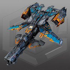 SciFi Gunship X3 3D Model Game ready .max - CGTrader.com