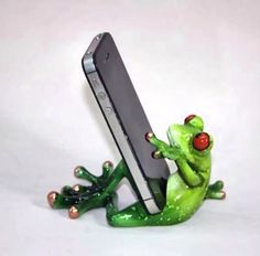 Frankie Frog Holds the Phone