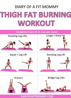 How I Lost My Thigh Fat + Thigh Fat Burning Workout – Diary of a Fit Mommy yoga fitnees – Top healthy fitness Mommy Workout, Workout Guide, Workout Diary, Workout Body, Workout Challenge, 30 Day Challenge, Workout Ideas, Man Workout, Easy Ab Workout