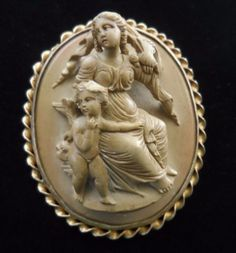 Beautiful-Large-Antique-Lava-Cameo-Brooch-Psyche-Cupid-and-Butterfly-High-Relief