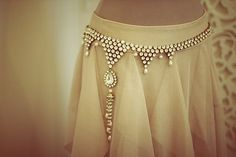 Crystal Sari belt with pearls