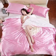 100 Pure Satin Silk Bedding Set Home Textile King Size Bed