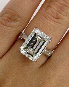 HUGE 6.87ct Emerald Cut Three Stone Diamond Engagement Wedding