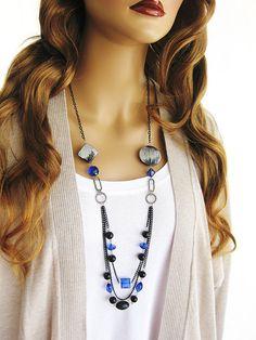Chunky, Long, Blue Beaded, Chain, Black Beaded Necklace, Multi Strand Necklace, Beaded Necklace, Black Necklace, Long Beaded Necklace, N-599