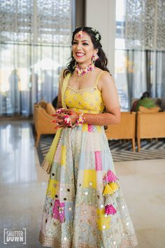 An Intimate Agra Wedding With A Pastel Floral Bridal Lehenga Bridal Mehndi Dresses, Indian Wedding Gowns, Mehendi Outfits, Indian Bridal Outfits, Indian Designer Outfits, Indian Dresses, Mehndi Dress For Bride, Bridal Lehenga Collection, Designer Bridal Lehenga