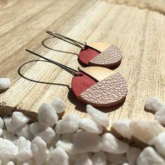 Boucles d'Oreilles pour Femme- Boucles d'oreilles Maissa- Cuir Corail Beige et Bronze - Cadeau parfait- Bijoux en Cuir