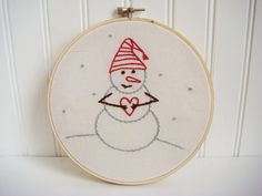 snowman hand embroidery pattern by hooptdo on Etsy
