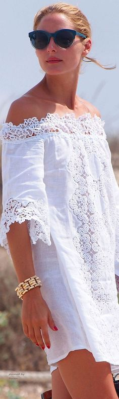 Off the shoulder white dress is the trend of summer 2016. See more at www.herstyledview.com