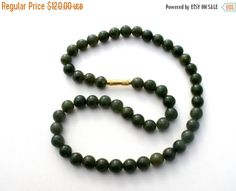 Sale Green Jade Necklace Chinese Beads by TheJewelryLadysStore