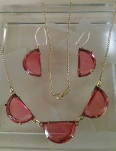 VINTAGE ART DECO GOLD - FILLED FACETED CRANBERRY GLASS NECKLACE / EARRINGS #Chain