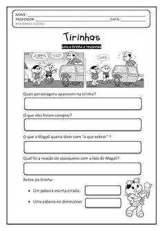 Tirinhas 2 penteado do Cebolinha | Atividades Pedagogica Suzano Teaching, Education, Camila, Envelopes, Gabriel, Jr, Alice, Language Activities, Writing Activities