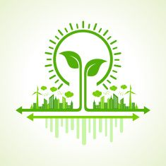 Ecology Concept - eco cityscape with leaf and bulb vector art illustration