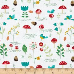 Rusty and Friends Mushrooms Patch White from @fabricdotcom  Designed by Mitzi Powers for Benartex, this cotton print is perfect for quilting, apparel and home decor accents. Colors include red, brown, green, gold with white background.