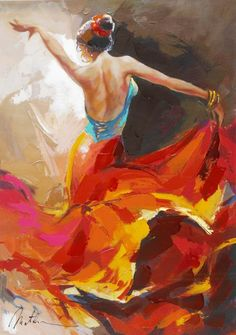 While historically known for his beautiful Mediterranean landscapes, Anatoly Metlan went beyond his comfort zone to amaze collectors with a series of dynamic dancers painted in his latest technique.   - Park West Gallery