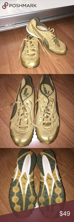 Gold Puma Athletic Sneakers cleat-like Puma sneakers. GOLD GOLD GOLD! Great color, great condition, like New, worn once (if that). Puma Shoes Sneakers