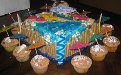 Here's an easy idea for a beach-theme birthday cake and cupcakes. I've made this type of cake a few times and this is my favorite with the fondant surboards.