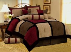 "7 PC MODERN Black Burgundy Red Brown Suede COMFORTER SET / BED IN A BAG - QUEEN SIZE BEDDING by Grand Linen. $69.95. Matching curtains are available and listed separate.; Complete the set with our quality Sheets, all sizes , check out our storefront.; Add Taste, Style & Comfort with this Luxury 7 Pc Suede Bedding To Your Bedroom; Set includes, 1 Comforter 86""x 86"", 2 Standard Shams, 1 Bed Skirt, 2 Dec Pillows, 1 neck Roll. Bring a touch of class into your Bedroom with thi..."