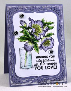 Inspired to Stamp: Hellebores stamp set by Power Poppy, card design by Kathy Jones
