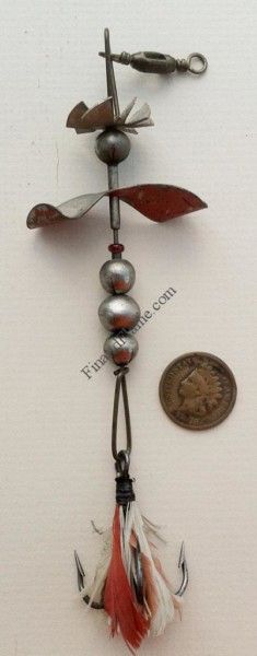 Pflueger Propeller Antique Lure - http://www.finandflame.com/pflueger-propeller-antique-lure/ - #AntiqueLure, #Art, #Fishing, #History, #PfluegerFancyMetal, #PfluegerPropellerAntiqueLure, #Spinner - Pflueger Propeller Antique Lure The Pflueger Propeller Antique Lure is great piece of 19th Century metal. This antique lure was first made made by the Enterprise Manufacturing Company of Akron Ohio around 1886. There were two different versions available in the catalog. The...