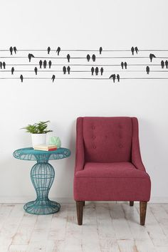 birds on a wire vinyl decal... i would love to run this all the way around a room, like a foot from the ceiling.