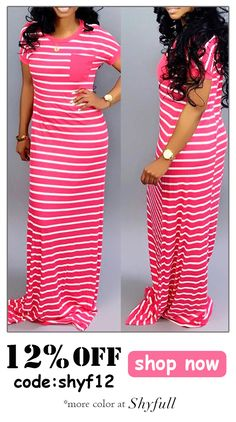 Lovely Casual Striped Rose Red Floor Length Maxi Dress Comfort clothing for women staying at home. New arrival fashion clothing. 2020 newest clothing. Shop now fast shipping. Maxi Dress With Sleeves, Dress Skirt, Short Sleeve Dresses, Modest Fashion, Fashion Outfits, Fashion Trends, Fashion Ideas, Swag Outfits, Women's Fashion