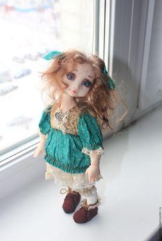 Купить Мятные горошинки (Куколка Ася ) - комбинированный, куклы младенцы, миниатюра, подвижная кукла