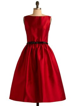 Winter Waltz Dress in Red - Red, Solid, A-line, Sleeveless, Formal, Wedding, Vintage Inspired, 50s, Summer, Fall, Long