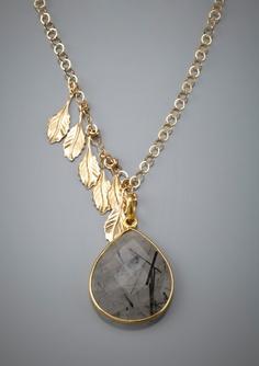Wilma & Ethel: Beverly Stone & Leaf charm necklace