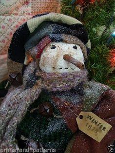 "PRIMITIVE FOLKART ""OLDE TYME SNOWMAN""~antique quilt-knitted scarf~ #NaivePrimitive #primsandpatterns"