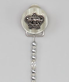 Love this Silver Crown Pacifier Clip on #zulily! #zulilyfinds
