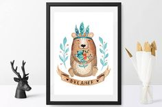 Woodland Watercolor Animals Nursery Prints Bear Playroom