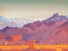 """Path to Tibet. 1925. Tempera on canvas mounted on cardboard. 30.5 x 40.5 cm. Nicholas Roerich Museum, New York. *Roerich's art is referenced in """"At the Mountains of Madness"""", by H. P. Lovecraft."""