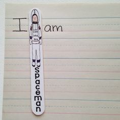Free download to make Spaceman sticks to remind students to use spaces between words!