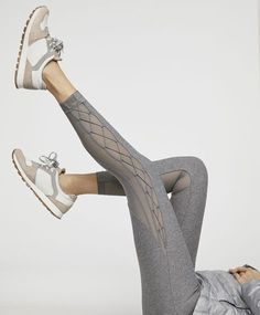 Leggings with criss-cross side detail - 0