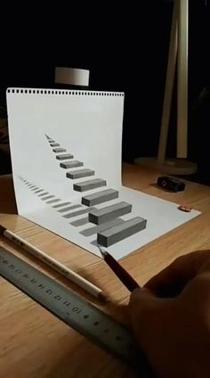 3d Pencil Drawings, 3d Art Drawing, Art Drawings Sketches Simple, Object Drawing, Drawing Step, Stair Drawing, Drawing Ideas, Easy Drawings, Animal Drawings