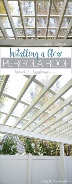 Turn your patio pergola into a three season veranda with a new roof! Adding a clear pergola roof is the perfect weekend DIY. See how easy it is Housefulofhandmad . via Kati (Houseful of Handmade) diy modern screen wall Diy Pergola, Pergola Toile Retractable, Pergola Canopy, Pergola With Roof, Wooden Pergola, Outdoor Pergola, Backyard Pergola, Pergola Shade, Backyard Landscaping