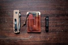 Chestnut EDC Card Caddy, Leather Card Wallet  for Everyday Carry by HitchandTimber on Etsy https://www.etsy.com/listing/267812997/chestnut-edc-card-caddy-leather-card