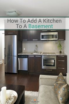 Want to add a basement kitchen? Get 13 helpful tips on how to get a functional and valuable basement kitchen design seamlessly. Small Basement Kitchen, One Wall Kitchen, Basement Kitchenette, Small Apartment Kitchen, Kitchen Living, New Kitchen, Kitchen Ideas, Kitchenette Ideas, Kitchen Decor