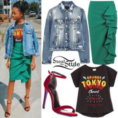 Skai Jackson posted a picture on instagram today wearing a Zara Kids Printed T-Shirt ($9.90), a Topshop Ruffle Crepe Mini Skirt ($80.00), a Zara Denim Jacket ($49.90) and Loriblu Velvet Heeled Sandals ($282.10).