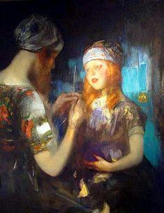 Knitting (Nora Ward and Kitty Shannon)-James Jebusa Shannon (1862 – 1923, American)