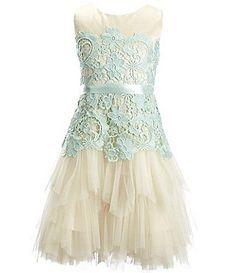 Chantilly Place Big Girls 7-16 Lace Cascade Tiered Dress