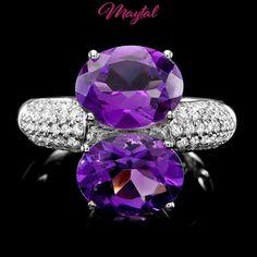 MAYTAL JEWELRY $4000 CERTIFIED 18K WHITE GOLD 5CT AMETHYST .50CT DIAMOND RING #MAYTALJEWELRY #Cocktail