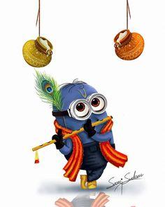Art Drawings Beautiful, Colorful Drawings, Cute Drawings, Cute Krishna, Krishna Art, Shree Krishna, Minion Painting, Lord Krishna Hd Wallpaper, Funny Paintings