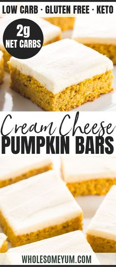 Low Carb Healthy Pumpkin Bars with Cream Cheese Frosting - Keto Brownies - Ideas of Keto Brownies - Low Carb Healthy Pumpkin Bars with Cream Cheese Frosting This easy pumpkin bars recipe with canned pumpkin & cream cheese f Desserts Keto, Desserts Sains, Keto Friendly Desserts, Keto Recipes, Slimfast Recipes, Delicious Desserts, Healthy Recipes, Dinner Recipes, Easy Healthy Deserts